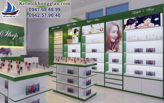 shop mỹ phẩm màu xanh lá